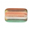 Glass Long Rectangle Bead 24x15mm Orange/Teal/Green - Strung